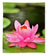 Pink Water Lilly Fleece Blanket