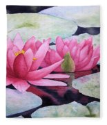 Pink Waterlilies Fleece Blanket