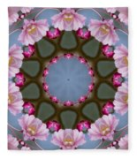 Pink Weeping Cherry Blossom Kaleidoscope Fleece Blanket