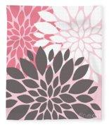 Pink White Grey Peony Flowers Fleece Blanket