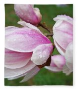 Pink White Wet Raindrops Magnolia Flowers Fleece Blanket