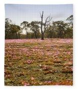 Pink Wildflowers Fleece Blanket