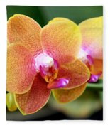 Pink Yellow Orchid Fleece Blanket