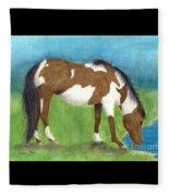 Pinto Mustang Horse Mare Farm Ranch Animal Art Fleece Blanket