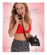Pinup Girl On The Phone Fleece Blanket