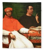 Piombo's Cardinal Bandinello Sauli And His Secretary And Two Geographers Fleece Blanket