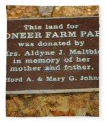 Pioneer Farm Park Plaque At Andersonville Georgia Fleece Blanket