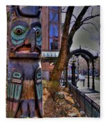 Pioneer Square Totem Pole Fleece Blanket