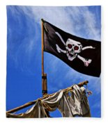 Pirate Flag On Ships Mast Fleece Blanket