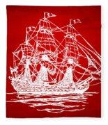 Pirate Ship Artwork - Red Fleece Blanket