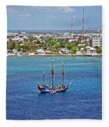 Pirate Ship In Cozumel Fleece Blanket