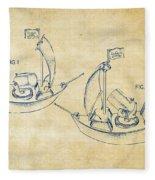 Pirate Ship Patent Artwork - Vintage Fleece Blanket