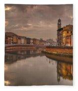 Pisa On The Arno Fleece Blanket