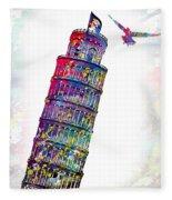 Pisa Tower  Fleece Blanket