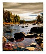 Piscataquis River Dover-foxcroft Maine Fleece Blanket