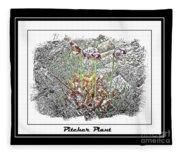 Pitcher Plant Illustration Fleece Blanket