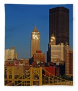 Pittsburg At Dusk Fleece Blanket