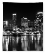 Pittsburgh Black And White Panorama Fleece Blanket