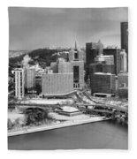 Pittsburgh Black And White Winter Panorama Fleece Blanket