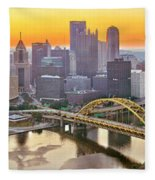 Pittsburgh Incline Sunrise Panorama Fleece Blanket