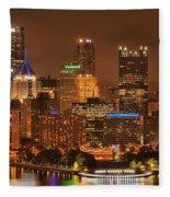 Pittsburgh Lights Under Cloudy Skies Fleece Blanket