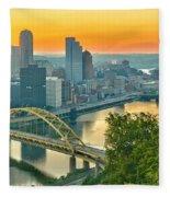 Pittsburgh Orange Skyline Fleece Blanket