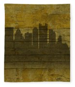 Pittsburgh Pennsylvania City Skyline Silhouette Distressed On Worn Peeling Wood No Name Version Fleece Blanket