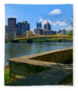 Pittsburgh Pennsylvania Skyline And Bridges As Seen From The North Shore Fleece Blanket