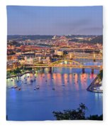 Pittsburgh Pennsylvania Skyline At Dusk Sunset Extra Wide Panorama Fleece Blanket