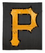 Pittsburgh Pirates Baseball Vintage Logo License Plate Art Fleece Blanket