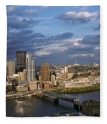 Pittsburgh Skyline At Dusk Fleece Blanket