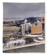 Pittsburgh's First Snow Of 2015 Fleece Blanket