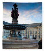 Place De La Bourse Buildings At Dusk Fleece Blanket