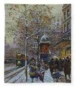 Place De La Republique Paris Fleece Blanket