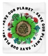 Planet Earth Icon With Slogan Fleece Blanket