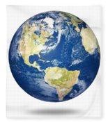 Planet Earth On White - America Fleece Blanket