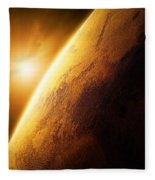 Planet Mars Close-up With Sunrise Fleece Blanket