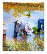 Planting Rice Fleece Blanket
