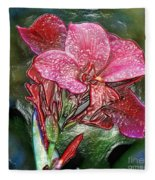 Plastic Wrapped Pink Flower By Diana Sainz Fleece Blanket