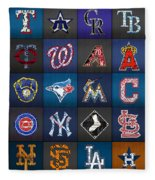 Play Ball Recycled Vintage Baseball Team Logo License Plate Art Fleece Blanket
