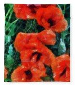Playful Poppies 5 Fleece Blanket