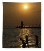 Playful Sunset Fleece Blanket