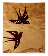 Playful Swallows Original Coffee Painting Fleece Blanket