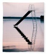 Playground Slide In Lake Fleece Blanket