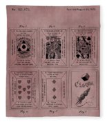 Playing Cards Patent Red Fleece Blanket