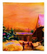 Playing Until The Sun Sets Fleece Blanket