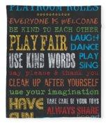 Playroom Rules Fleece Blanket