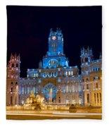 Plaza De Cibeles At Night In Madrid Fleece Blanket