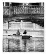 Plaza De Espana Rowboats Bw Fleece Blanket
