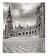 Plaza De Espana Seville Bw Fleece Blanket
